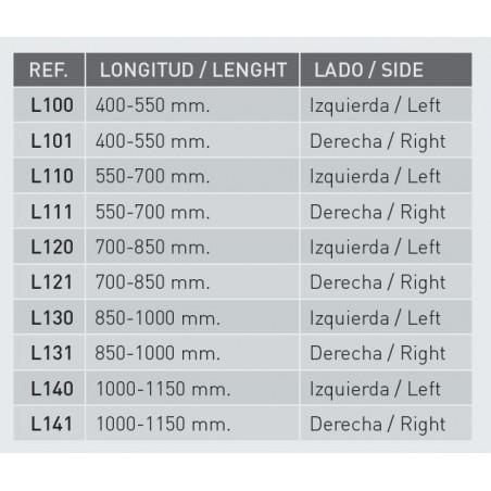 BARRA COLGADOR CON LEDS Y SENSOR 1000-1150mm. DERECHA