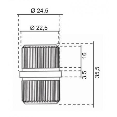 EMPALME TUBO REDONDO D-25  A/INOX