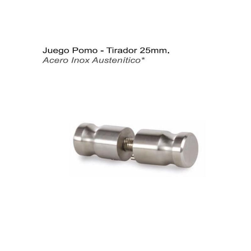JUEGO POMO TIRADOR 25mm A/INOX