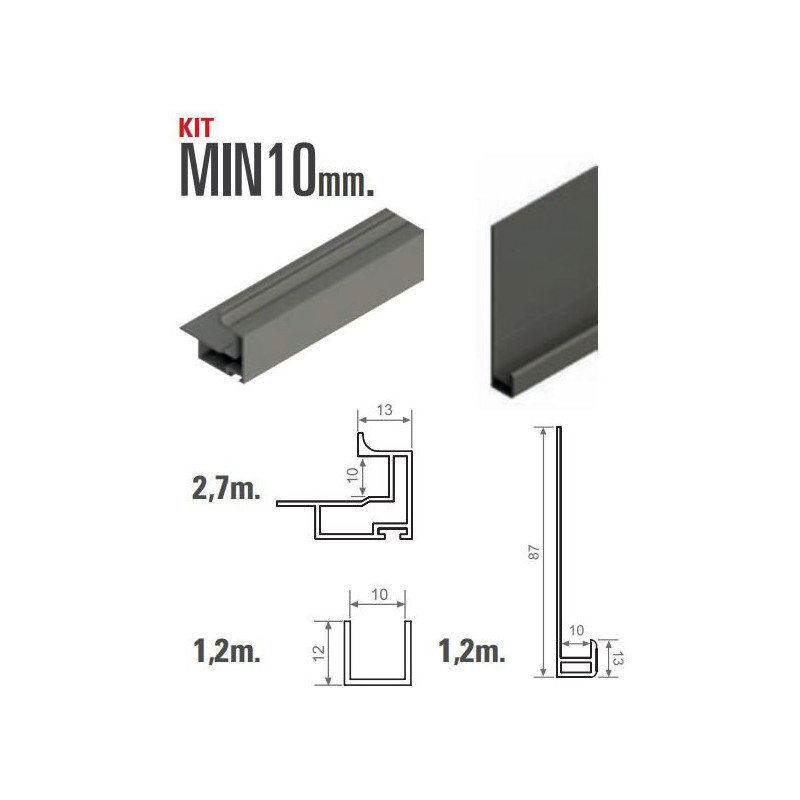 Kit de herrajes para tablero de 10mm con tirador minimalista