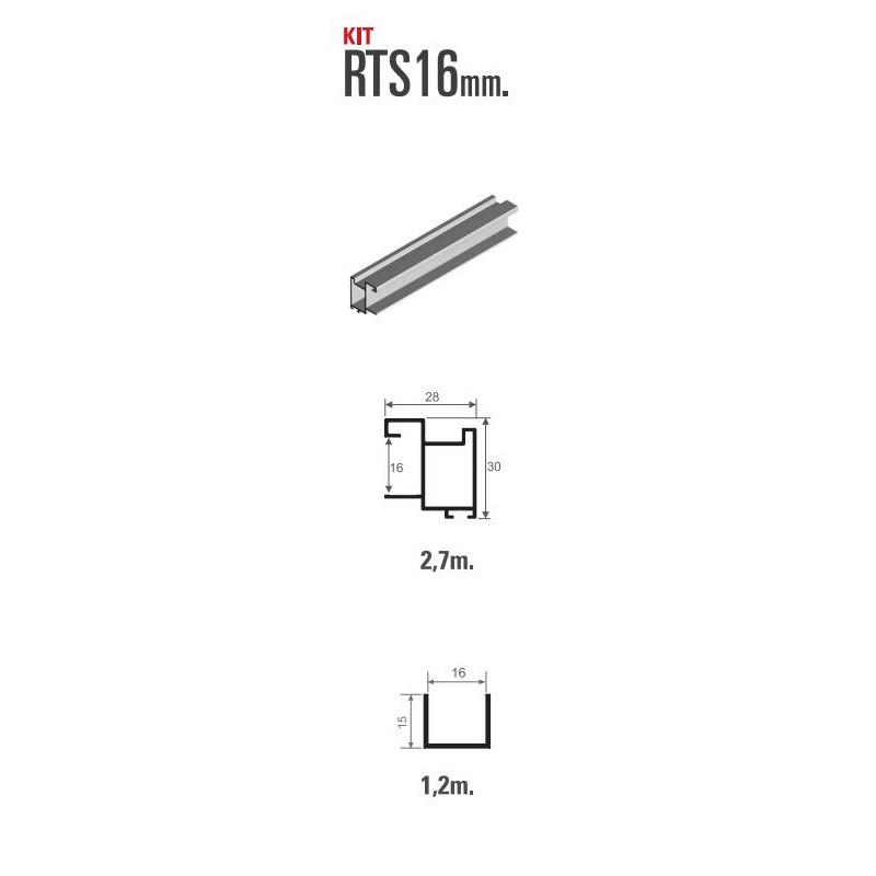 Kit de herrajes para tablero de 16mm con tirador RTS