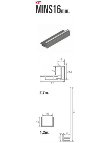 Kit MINS 16mm perfilería para nueva serie 80