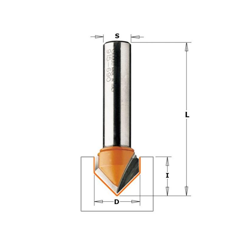 Fresa Para Ranuras En V (90) HM S8 D9.5X12.7