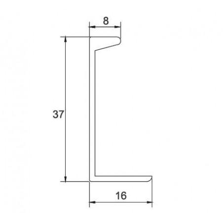 Tirador Aluminio Superpuesto 37x16 (5,2m) Plata brillo €/ml