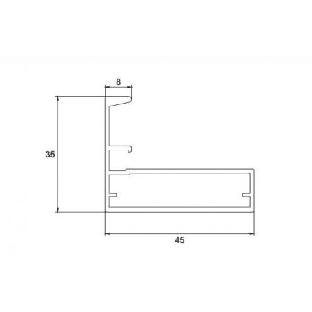 Perfil Aluminio 35x45 P8 Anodizado Plata Mate €/ml