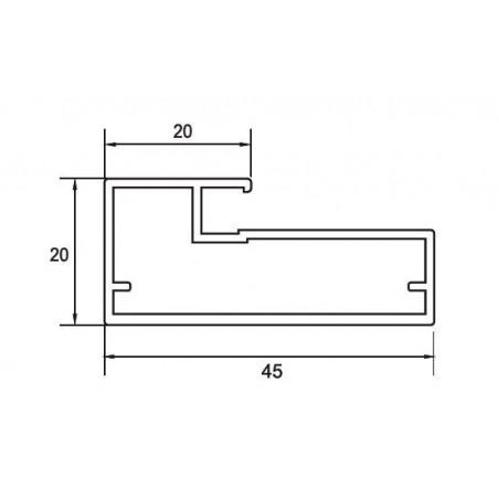 Perfil Aluminio 20x45 P20 Anodizado Plata Brillo €/ml