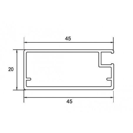 Perfil Aluminio 20x45 P45 Anodizado Plata Mate €/ml